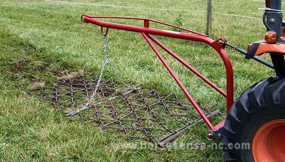 Homemade Field Drag : Horse sense drag field manure with a harrow rake